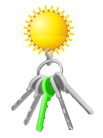 one isolated: golden sun on key ring with green one isolated vector illustration