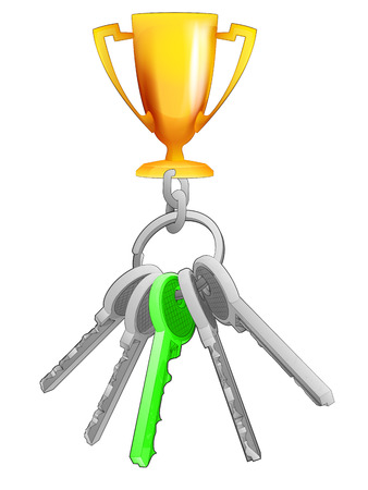 one isolated: champion cup on key ring with green one isolated vector illustration