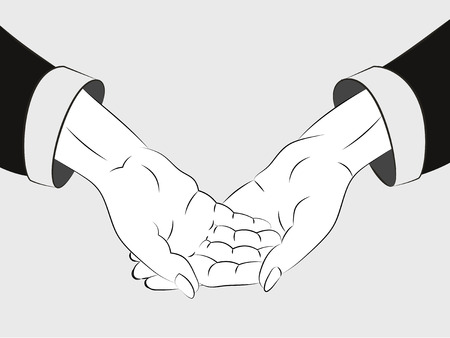 isolated two human hands across sketch vector illustration Vector