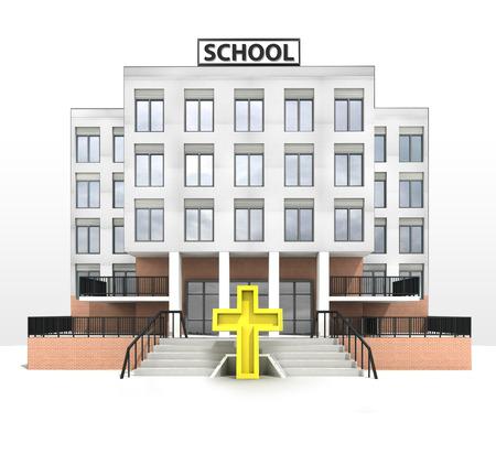 golden cross in front of modern school building illustration illustration