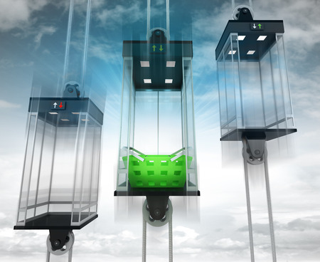 upwards: shopping basket in the middle elevator as vertical transport concept illustration
