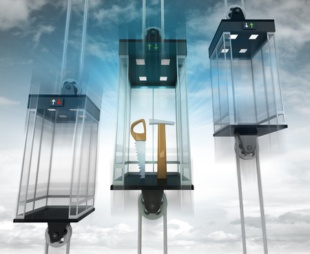 dyi: manual tools in the middle elevator as vertical transport concept illustration