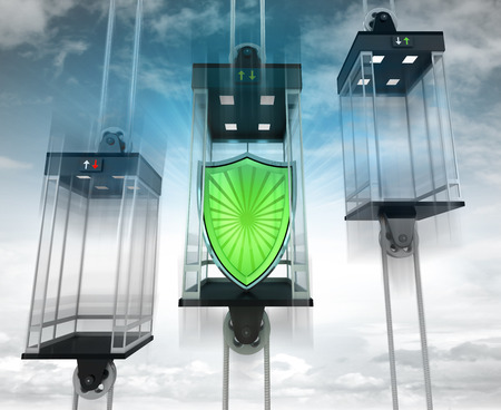 upwards: security shield in the middle elevator as vertical transport concept illustration Stock Photo