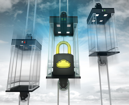 lift lock: security padlock in the middle elevator as vertical transport concept illustration