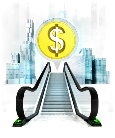 upwards: Dollar coin in bubble above escalator leading to city concept illustration