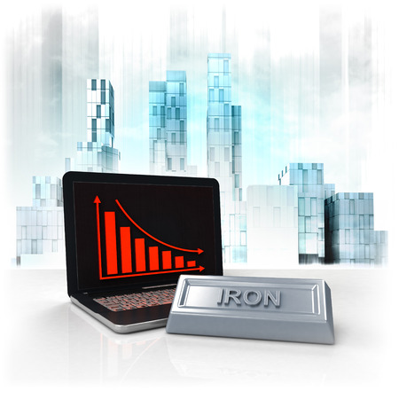 iron commodity with negative online results in business district illustration