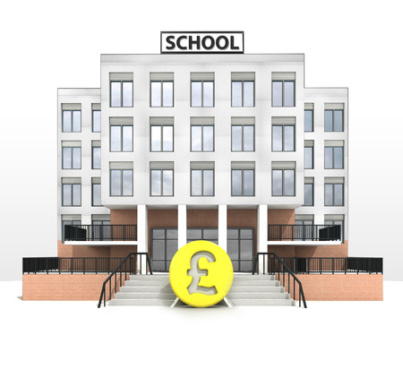 pound currency in front of modern school building illustration illustration