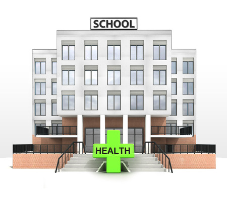 cross street with care: health cross in front of modern school building illustration