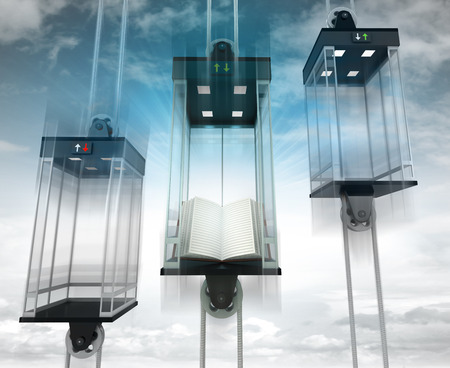 upwards: open book in the middle elevator as vertical transport concept illustration Stock Photo