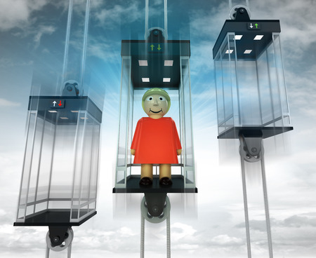 woman in the middle elevator as vertical transport concept illustration illustration