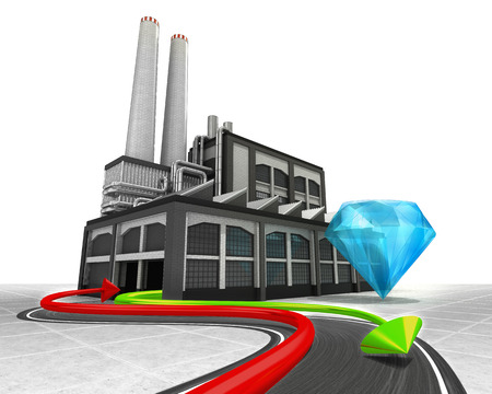 blue diamond and import export arrow industrial concept illustration illustration