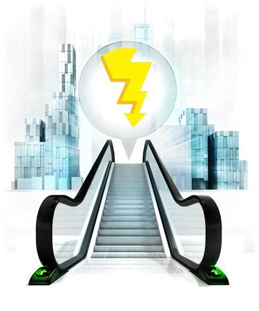 upwards: thunderbolt in bubble above escalator leading to city concept illustration