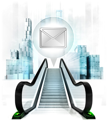 upwards: email message in bubble above escalator leading to city concept illustration