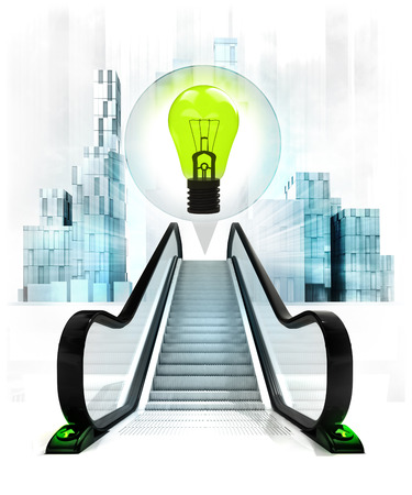 green lightbulb in bubble above escalator leading to city concept illustration