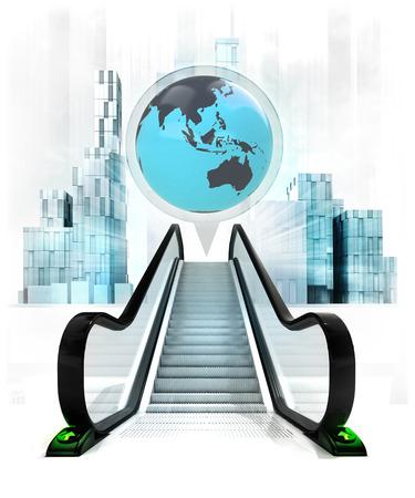upwards: Asia earth globe in bubble above escalator leading to city concept illustration