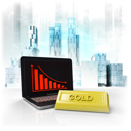 gold commodity with negative online results in business district illustration illustration