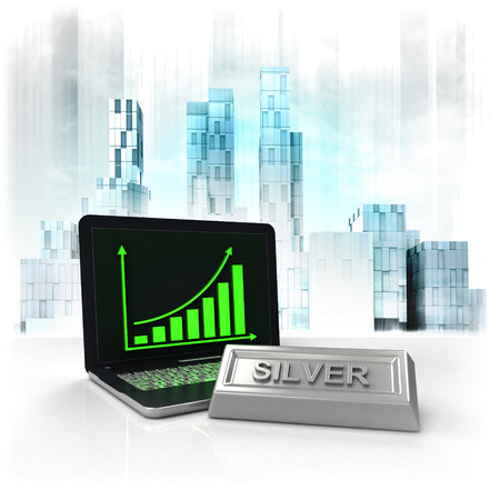 metropole: silver commodity with positive online results in business district illustration