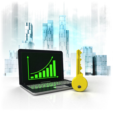 upwards: key unlock with positive online results in business district illustration Stock Photo