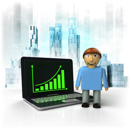 standing man with positive online results in business district illustration illustration