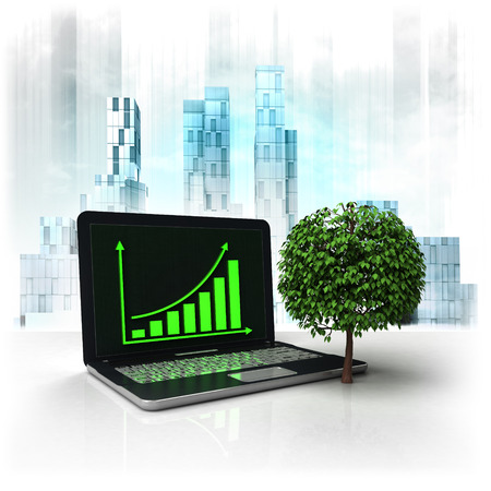 business district: leafy tree with positive online results in business district illustration
