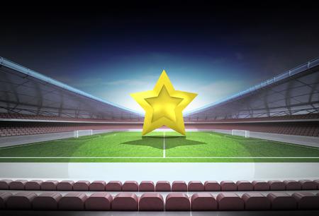 football star in midfield of magic stadium at night illustration illustration