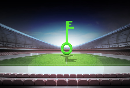 green key in midfield of magic football stadium illustration illustration