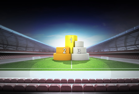 champion podium in midfield of magic football stadium illustration illustration