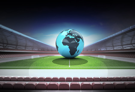 Africa world globe in midfield of magic football stadium illustration illustration