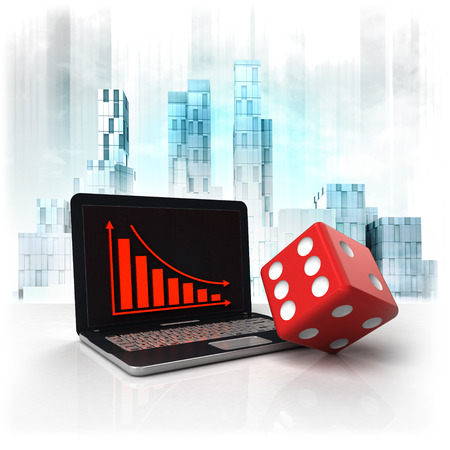 business district: red dice with negative online results in business district illustration