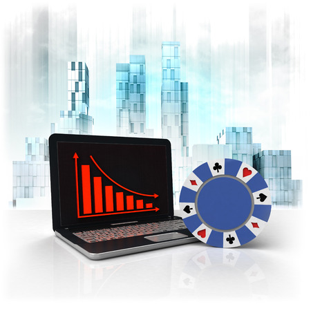 poker chip with negative online results in business district illustration illustration