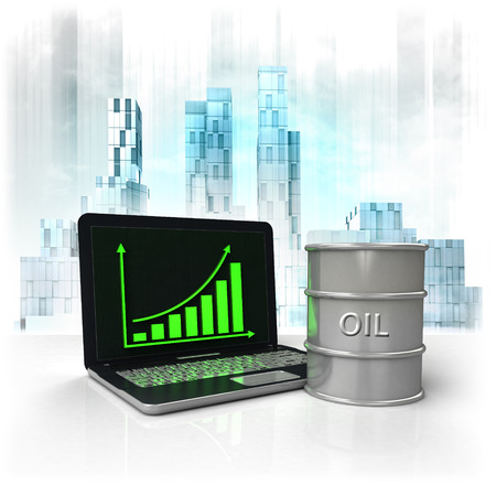 metropole: oil barrel with positive online results in business district illustration
