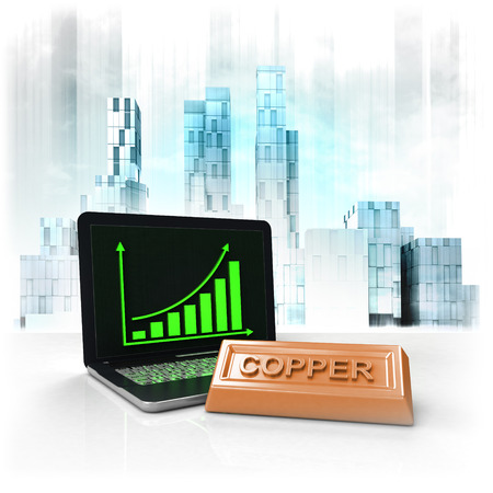 copper commodity with positive online results in business district illustration