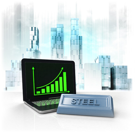 business district: steel commodity with positive online results in business district illustration Stock Photo