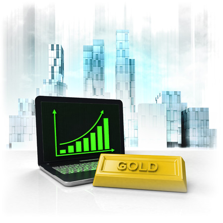 gold commodity with positive online results in business district illustration