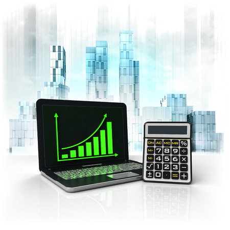 metropole: calculator with positive online results in business district illustration Stock Photo