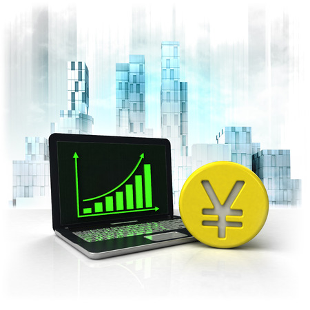 metropole: Yuan  golden coin with positive online results in business district illustration Stock Photo