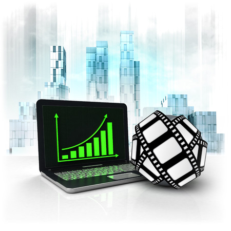 movie tape with positive online results in business district illustration