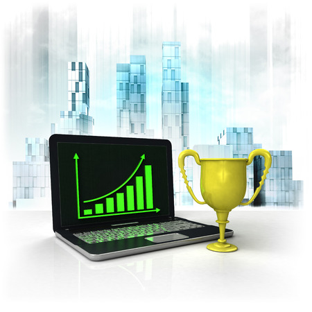 metropole: champion cup with positive online results in business district illustration Stock Photo