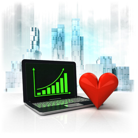 metropole: love heart with positive online results in business district illustration