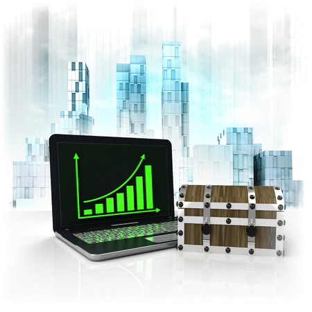 business district: mystery chest with positive online results in business district illustration Stock Photo