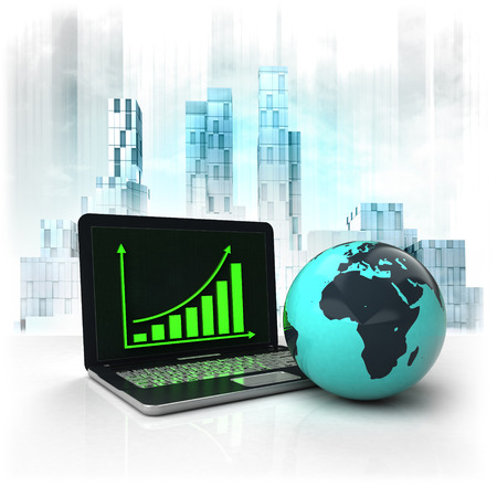 metropole: Africa earth globe with positive online results in business district illustration Stock Photo
