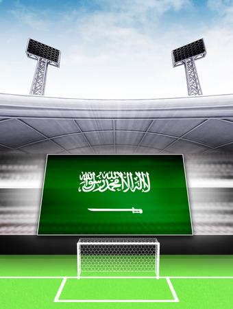 Saudi Arabia flag banner in modern football stadium background illustration illustration