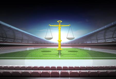team comparation in midfield of magic football stadium illustration