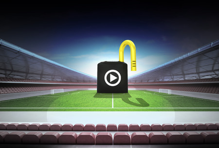 risky: risky play as padlock concept in magic football stadium illustration