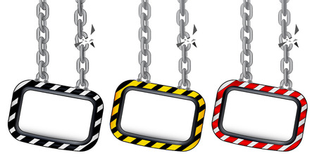 isolated hanged board on cracked chain color set vector illustration Vector