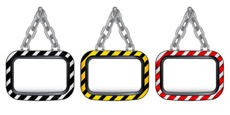 isolated hanged chain board striped color set vector illustration Vector
