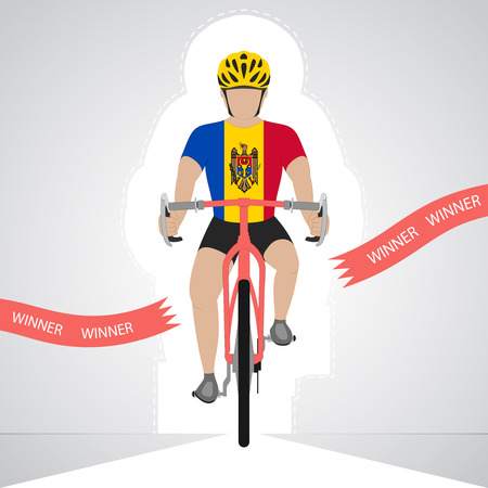moldavia: Moldavian cyclist in front view crossing red finish line vector isolated illustration