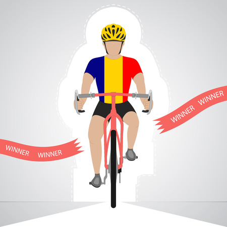 romanian: Romanian cyclist in front view crossing red finish line vector isolated illustration