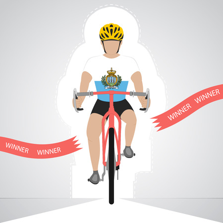 marino: San Marino cyclist in front view crossing red finish line vector isolated illustration