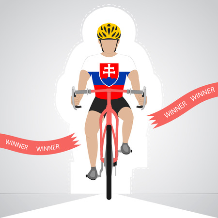 slovakian: Slovakian cyclist in front view crossing red finish line vector isolated illustration